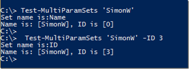 PowerShell functions and Parameter Sets