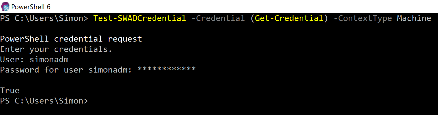 Validating username and password with PowerShell